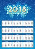 2018 year calendar, winter night blue colors. 2018 full year calendar, for A4, Letter or A3 paper size, of winter night blue colors, English language, week Royalty Free Stock Photo