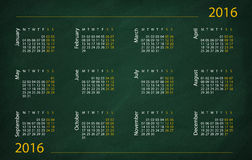2016 year calendar. Write on the blackboard Stock Image