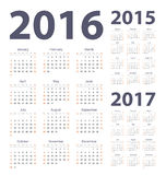 2016, 2017, 2015 year calendars. Vector simple set of 2016, 2017, 2015 year calendars. Week starts from Sunday Royalty Free Stock Photo