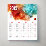 2015 year calender. Hexagon pattern background. Vector illustration Stock Image