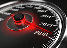 2016 year car speedometer. Concept Royalty Free Stock Photo