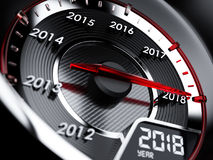 2018 year car speedometer. Countdown concept. 3d illustration of 2018 year car speedometer. Countdown concept stock illustration