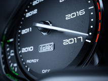 2017 year car speedometer. Countdown concept. 3d rendering illustration Stock Images