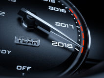 2018 year car speedometer. Countdown concept. 3d rendering illustration Royalty Free Stock Photos