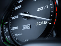 2018 year car speedometer. Countdown concept. 3d rendering illustration Royalty Free Stock Photography