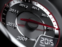 2015 year car speedometer. 3d illustration of 2015 year car speedometer. Countdown concept Stock Image