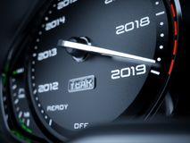 2019 year car speedometer. Countdown concept. 3d rendering illustration stock illustration