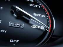 2019 year car speedometer. Countdown concept. 3d rendering illustration Stock Image