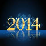 2014 year card gold. On blue Stock Photography