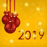 2019 year card with red balls and bows. On a gold background royalty free illustration