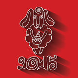 2015 Year.Cartoon outline sheep with long shadow. Greeting card.2015 Year of Sheep. Vector Cartoon outline curly sheep with Christmas toy ,Figures 2015 and long royalty free illustration