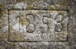 Year 1858 carved in a stone Royalty Free Stock Photography