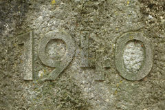 Year 1940 carved in stone. The years of World War II. Stock Photo