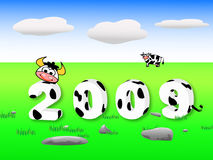 Year of Cattle. An illustrated background of year 2009 with the theme of cows, supporting the concept of chinese traditional Year of Cattle Royalty Free Stock Photography