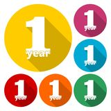 1 year, Celebrating 1 year, 1 year Anniversary - Set. Vector icon stock illustration