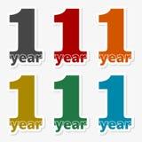 1 year, Celebrating 1 year, 1 year Anniversary - Set. Vector icon royalty free illustration