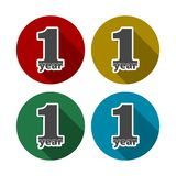 1 year, Celebrating 1 year, 1 year Anniversary - Set. Vector icon vector illustration