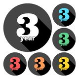 3 year, Celebrating 3 year, 3 year Anniversary - Set. Vector icon vector illustration