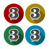 3 year, Celebrating 3 year, 3 year Anniversary - Set. Vector icon royalty free illustration