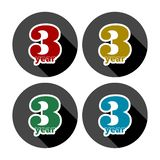 3 year, Celebrating 3 year, 3 year Anniversary - Set. Vector icon stock illustration