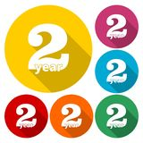 2 year, Celebrating 2 year, 2 year Anniversary - Set. Vector icon royalty free illustration