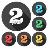 2 year, Celebrating 2 year, 2 year Anniversary - Set. Vector icon stock illustration