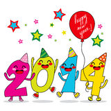Year 2014 Celebration. Year 2014 cartoon number characters celebrating happy new year party Royalty Free Stock Photography