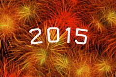 2015 year celebration with fireworks Stock Images