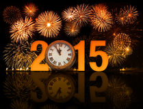 2015 year celebration with fireworks Stock Photo