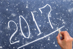 2017 year on chalkboard with hand writing underline.  Stock Photo