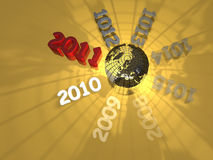 Year change - 2010-2011. Illustration on year change - 2010-2011 - 3D royalty free illustration