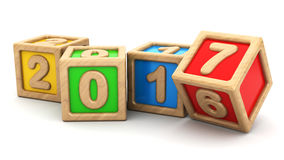 Year change. Abstract 3d illustration of new year symbol with wooden toy cubes stock illustration