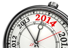 Year change 2014 concept clock. Isolated on white background Royalty Free Stock Images