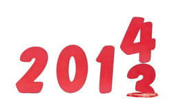 Year 2013 changes to 2014 Stock Image
