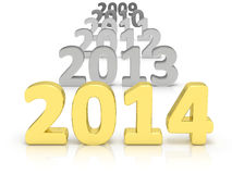Year 2014. Changing years from past to 2014 in gold isolaed on a white background stock illustration