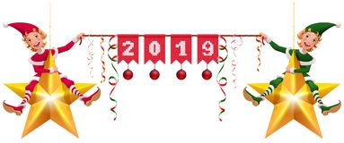 2019 year christmas decoration two elves holding banner. Isolated on white vector cartoon illustration vector illustration