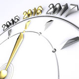 Year 2016. Clock Hand Reaches New Year 2016 in Gold Royalty Free Stock Photos