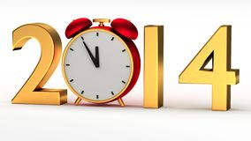 Year 2014 with clock. New year 2014 with red clock Royalty Free Stock Photography