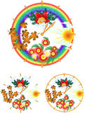 Year Clock With Four Seasons Stock Images