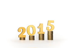 Year 2015 Coins. Year 2015 of Gold Coins with White Background Royalty Free Stock Photography