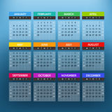 2016 year color calendar template. Flat design template stock illustration