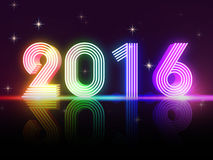 Year 2016 in colored neon shining figures Stock Images