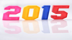2015 year colorful figures with reflection on white Royalty Free Stock Images