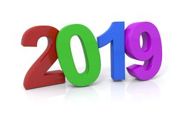 Year 2019. A colorful illustration of the year 2019 on a white background Stock Photo