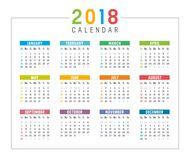 Year 2018 calendar  template. Year 2018 colorful minimalist calendar, on white background Royalty Free Stock Photo