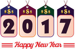 2017 year colorful sales tag with golden dollar sign. Happy new year. 2017 year colorful sales tag with golden dollar sign Royalty Free Stock Images
