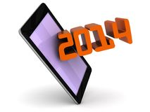 Year 2014 coming out of a touch screen smart phone. An illustration of the year 2014 on a touch screen smart phone on a white  background Stock Photo