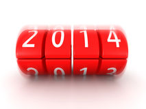 2014 year coming soon rolling calendar. 3d illustration Royalty Free Stock Photo