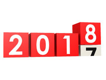 Year 2018 is coming. On white, 3D rendering Royalty Free Stock Images