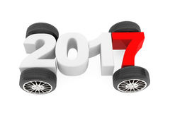 2017 Year Concept with Car Wheels. 3d Rendering. 2017 Year Concept with Car Wheels on a white background. 3d Rendering Stock Photos